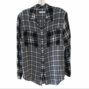 Equipment 100% Silk Black & White Checkered Button
